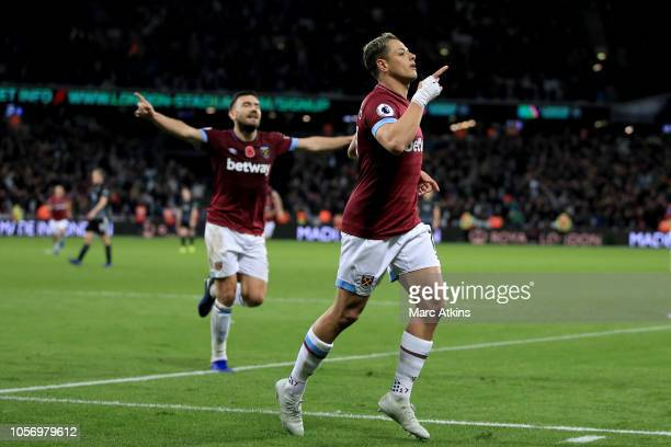 Javier Hernandez of West Ham United celebrates during the Premier League match between West Ham United and Burnley FC at London Stadium on November 3...