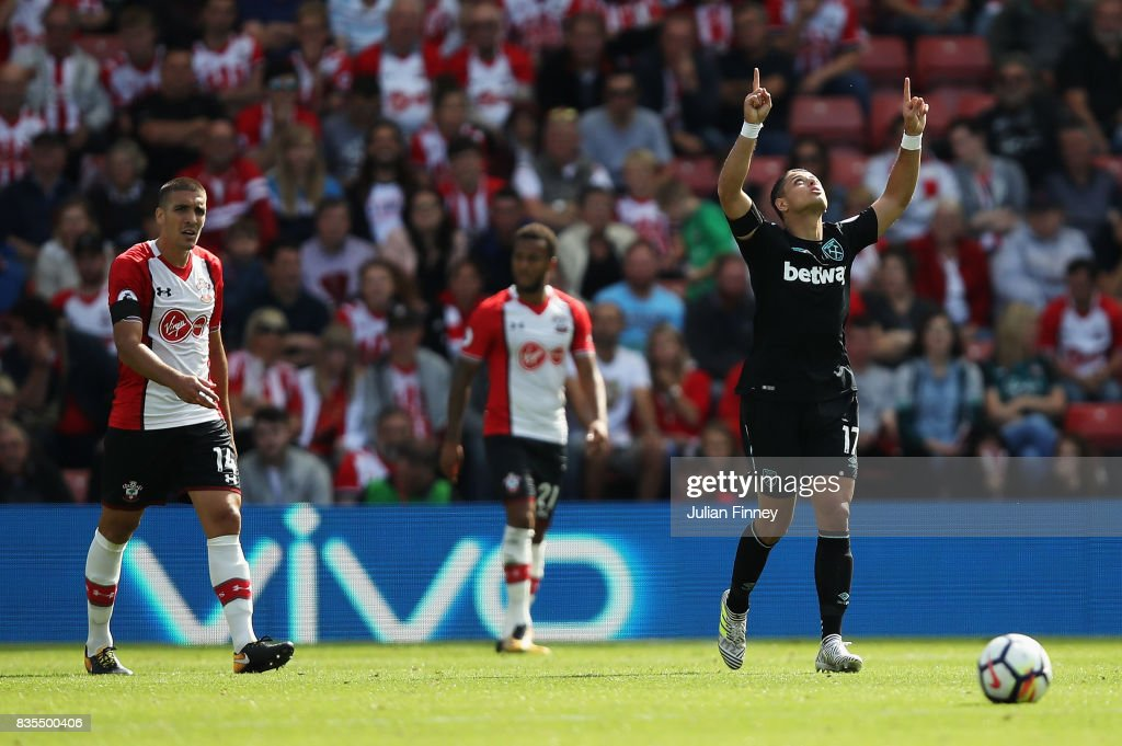 Javier Hernandez of West Ham United celebrates scoring his sides first goal during the Premier League match between Southampton and West Ham United at St Mary's Stadium on August 19, 2017 in Southampton, England.