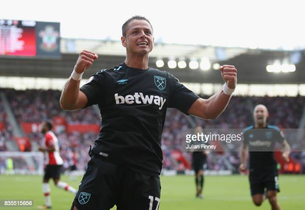 Javier Hernandez of West Ham United celebrates scoring his sides second goal during the Premier League match between Southampton and West Ham United...