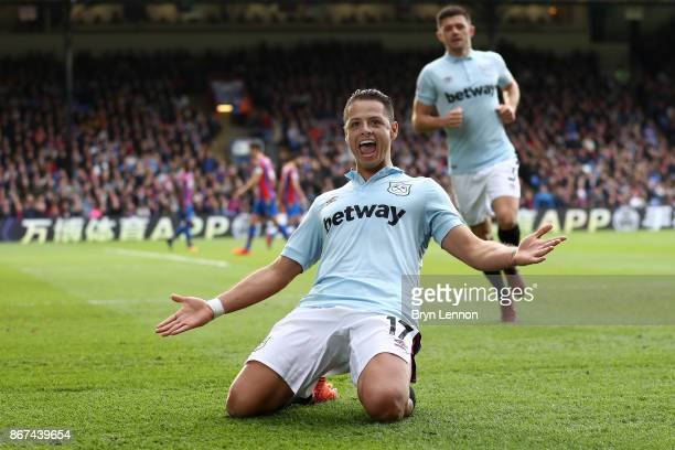 Javier Hernandez of West Ham United celebrates scoring his sides first goal during the Premier League match between Crystal Palace and West Ham...