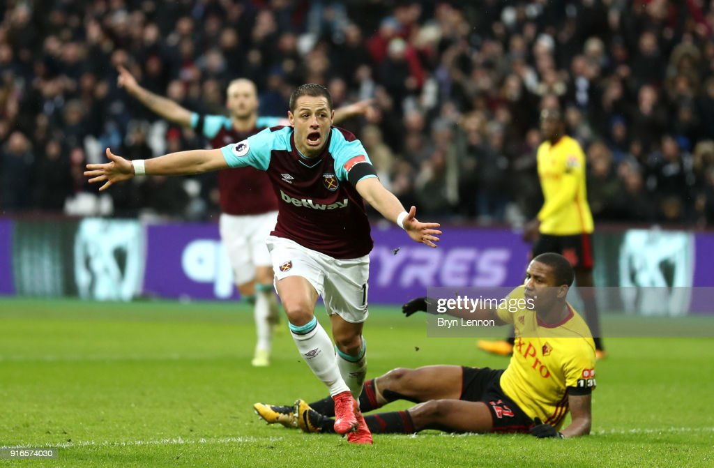 Javier Hernandez of West Ham United celebrates scoring his side's first goal during the Premier League match between West Ham United and Watford at London Stadium on February 10, 2018 in London, England.