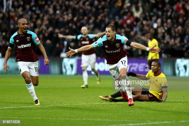 Javier Hernandez of West Ham United celebrates scoring his side's first goal during the Premier League match between West Ham United and Watford at...