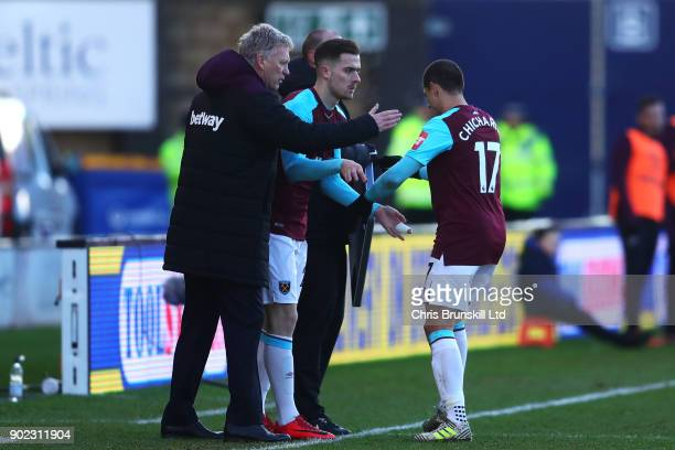 Javier Hernandez of West Ham United is replaced by Antonio Martinez during The Emirates FA Cup Third Round match between Shrewsbury Town and West Ham...