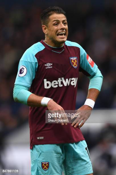 Javier Hernandez of West Ham United reacts during the Premier League match between West Bromwich Albion and West Ham United at The Hawthorns on...