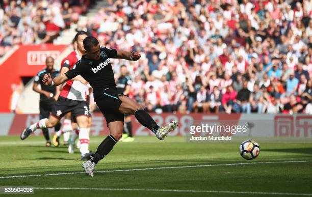 Javier Hernandez of West Ham United scores his sides first goal during the Premier League match between Southampton and West Ham United at St Mary's...