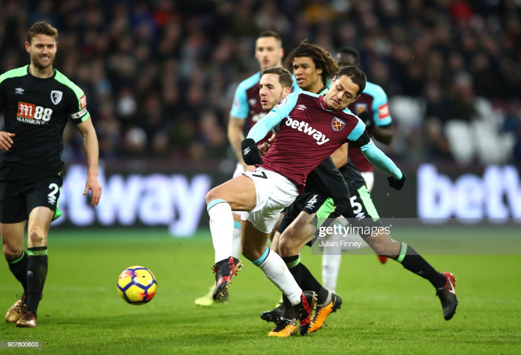 Javier Hernandez of West Ham United scores his sides first goal during the Premier League match between West Ham United and AFC Bournemouth at London Stadium on January 20, 2018 in London, England.