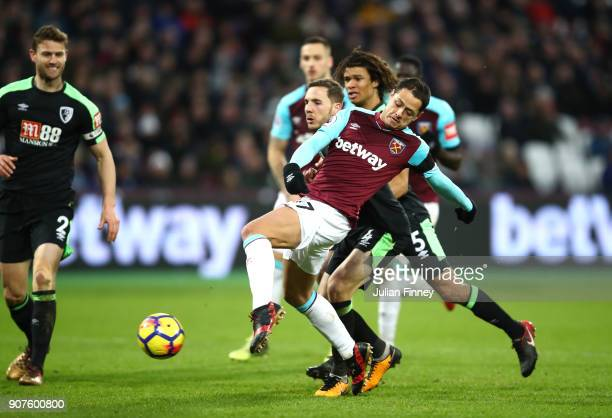 Javier Hernandez of West Ham United scores his sides first goal during the Premier League match between West Ham United and AFC Bournemouth at London...