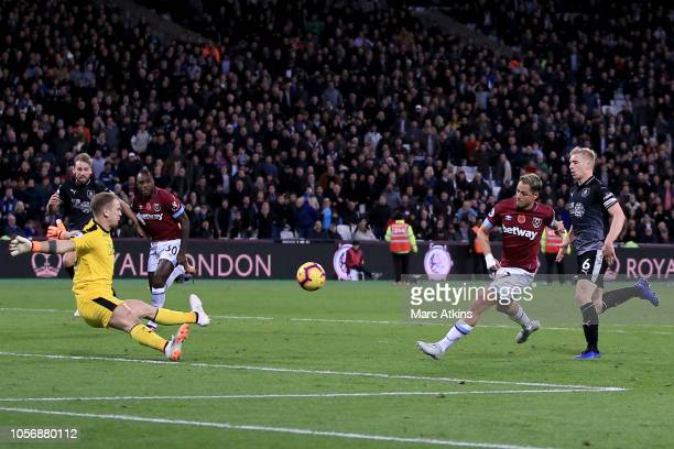 Javier Hernandez of West Ham United scores their 4th goal during the Premier League match between West Ham United and Burnley FC at London Stadium on...