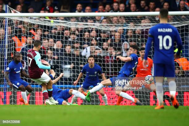 Javier Hernandez of West Ham United scores their first goal during the Premier League match between Chelsea and West Ham United at Stamford Bridge on...