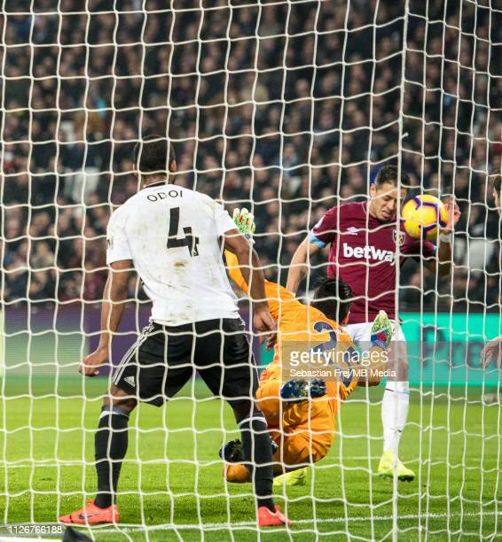 Javier Hernandez of West Ham United scoring goal during the Premier League match between West Ham United and Fulham FC at London Stadium on February...