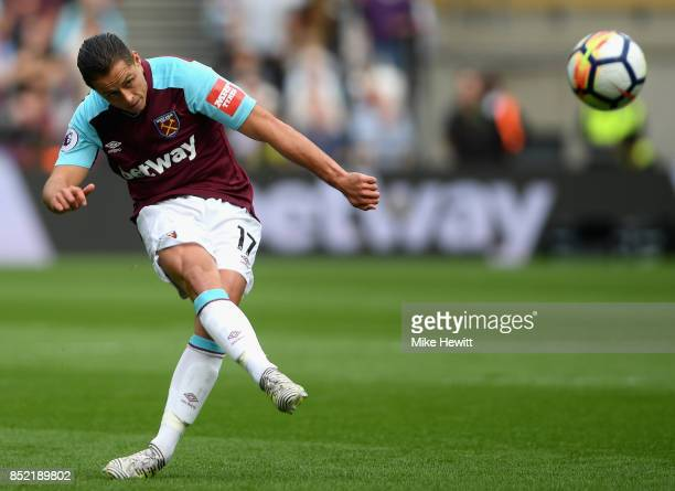 Javier Hernandez of West Ham United shoots during the Premier League match between West Ham United and Tottenham Hotspur at London Stadium on...