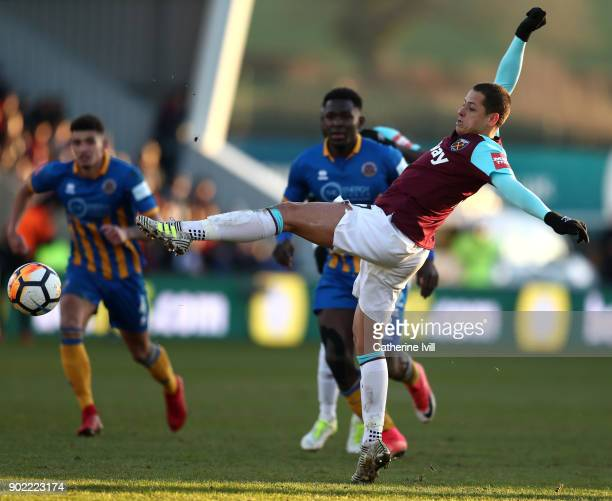Javier Hernandez of West Ham United stretches for the ball during The Emirates FA Cup Third Round match between Shrewsbury Town and West Ham United...