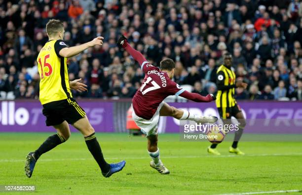 Javier Hernandez of West Ham United volleys during the Premier League match between West Ham United and Watford FC at London Stadium on December 22...