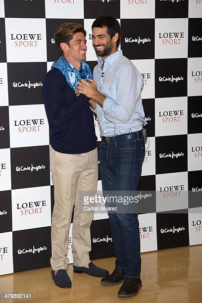 Javier Hernanz and actor Ruben Cortada present the new Loewe 'Sport' fragance at the Corte Ingles Castellana store on March 18 2014 in Madrid Spain