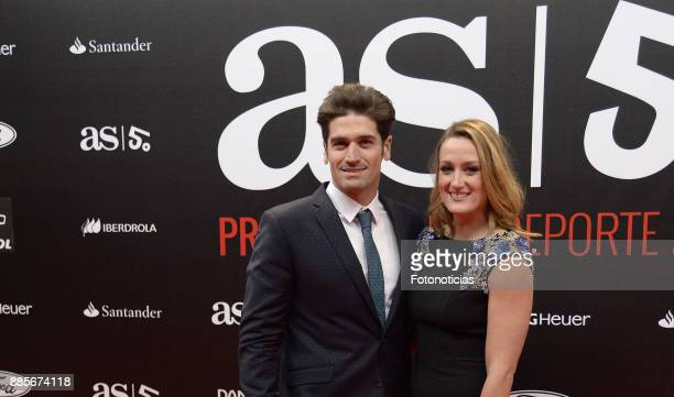 Javier Hernanz and Mireia Belmonte attend the 'As del Deporte' and 'As' sports newspaper 50th anniversary dinner at the Palacio de Cibeles on...