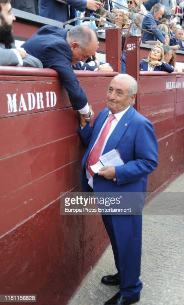 Javier Hidalgo and Javier Tebas attend the 9th bullfight of the San Isidro Fair at Las Ventas Bullring on May 22 2019 in Madrid Spain
