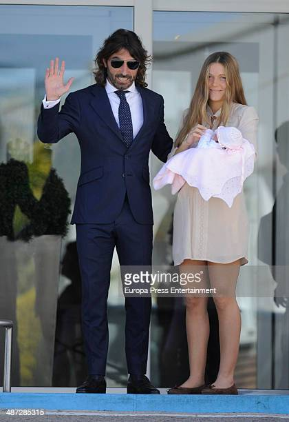 Javier Hidalgo and Sol Gonzalez present their daughter Camila Hidalgo on April 28 2014 in Madrid Spain
