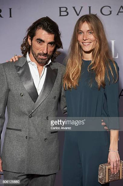 Javier Hidalgo and wife Sol Gonzalez attend the Eugenia Silva's birthday at the Museum at the El Museo del Traje on January 21 2016 in Madrid Spain