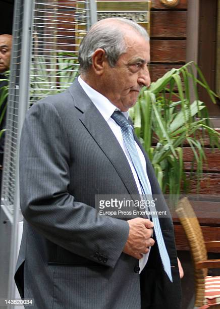 Javier Hidalgo leaves restaurant after lunch to celebrate League title 2012 for Real Madrid on May 3 2012 in Madrid Spain