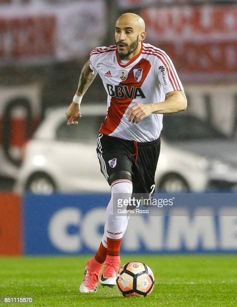 Javier Horacio Pinola of River Plate drives the ball during a second leg match between River Plate and Wilstermann as part of the quarter finals of...