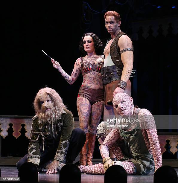 Javier Ignacio as Dog Boy Hannah Shankman as Tattoo Girl Barrett Martin as Strong Man and Don Richard as Reptile Man during the 'Side Show' Press...
