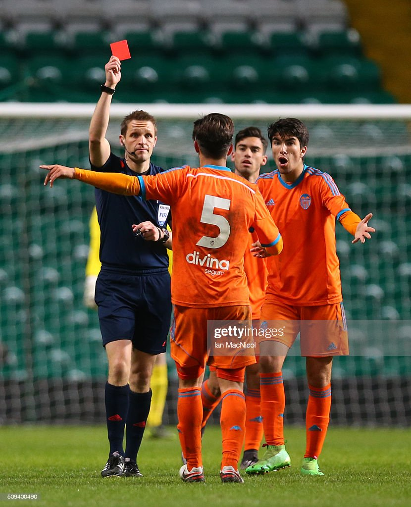 Javier Jimenez of Valencia is red carded during the UEFA Youth Champions League match between Celtic and Valencia at Celtic Park on February 10, 2016 in Glasgow, Scotland.