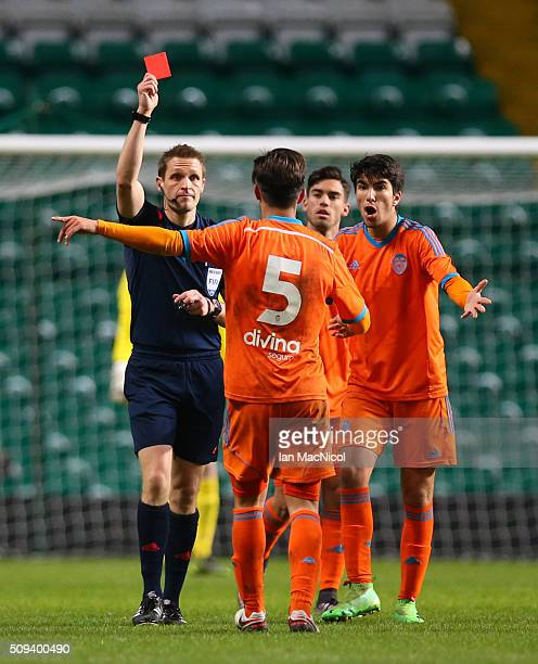 Javier Jimenez of Valencia is red carded during the UEFA Youth Champions League match between Celtic and Valencia at Celtic Park on February 10 2016...