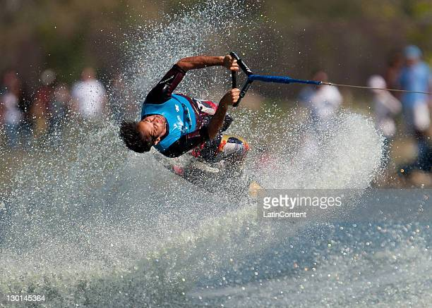 Javier Julio, of Argentina, in action during the Men's Tricks final of the water skiing competition as part of the Pan American Games Guadalajara...