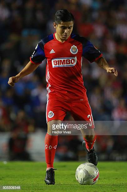 Javier Lopez of Chivas drives the ball during the 2nd round match between Cruz Azul and Chivas as part of the Clausura 2016 Liga MX at Azul Stadium...