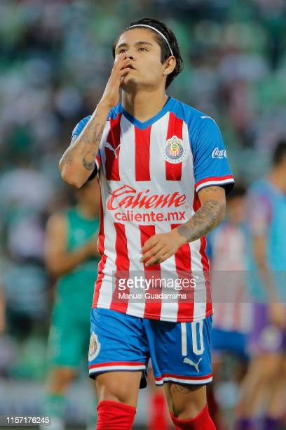 Javier Lopez of Chivas reacts during the 1st round match between Santos Laguna and Chivas as part of the Torneo Apertura 2019 Liga MX at Corona...