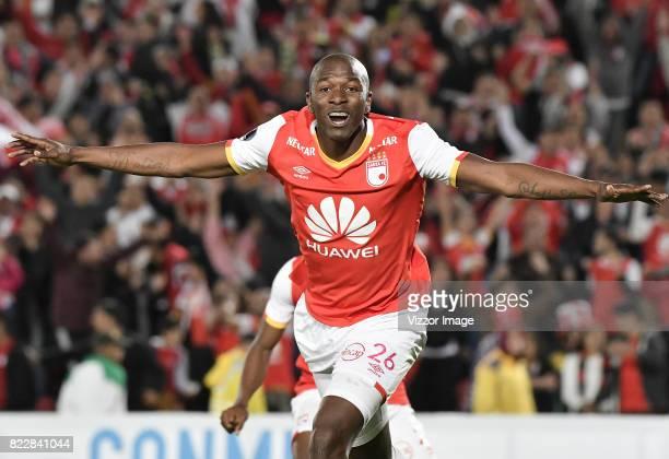 Javier Lopez of Independiente Santa Fe celebrates after scoring the winning goal during the match between Independiente Santa Fe and Fuerza Amarilla...
