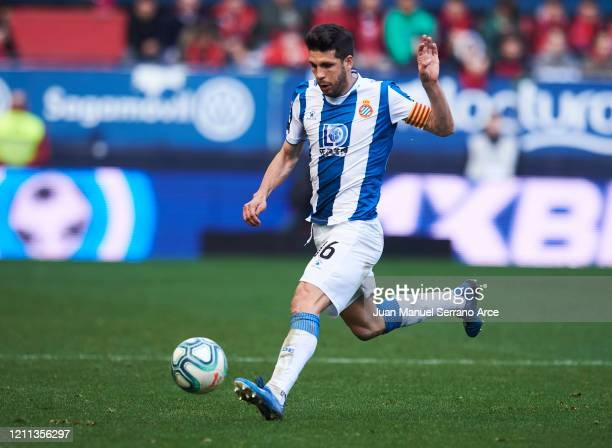 Javier Lopez of RCD Espanyol in action during the Liga match between CA Osasuna and RCD Espanyol at El Sadar Stadium on March 08, 2020 in Pamplona,...