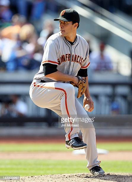 Javier Lopez of the San Francisco Giants in action against the New York Mets at Citi Field on April 21 2012 in the Flushing neighborhood of the...