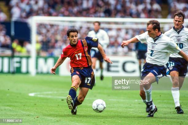Javier Manjarin of Spain and David Platt of England during the Quarter Final of European Championship match between Spain and England at Wembley...