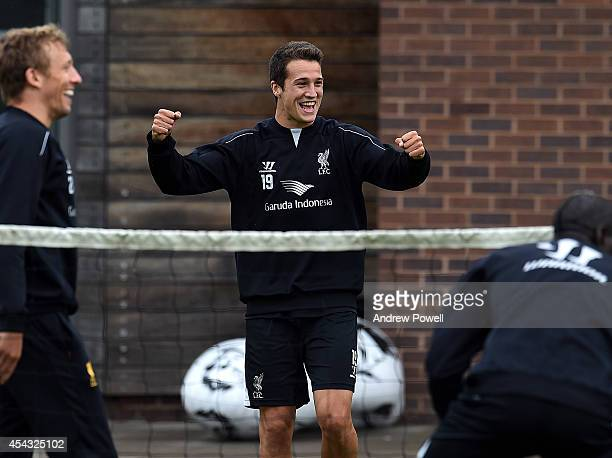 Javier Manquillo of Liverpool celebrates after a training session at at Melwood Training Ground on August 29 2014 in Liverpool England