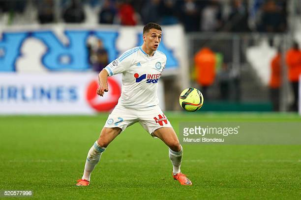 Javier Manquillo of Marseille during the French League 1 match between Olympique de Marseille and FC Girondins de Bordeaux at Stade Velodrome on...