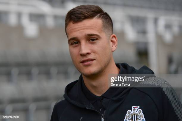 Javier Manquillo of Newcastle United arrives for the Premier League Match between Newcastle United and Liverpool at StJames' Park on October 1 in...