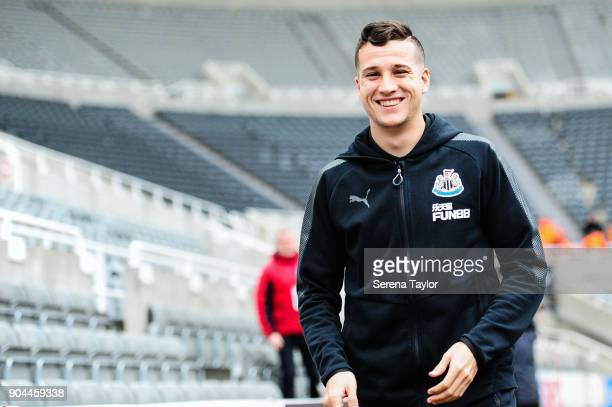 Javier Manquillo of Newcastle United arrives for the Premier League match between Newcastle United and Swansea City at StJames' Park on January 13 in...