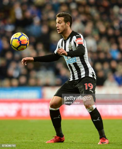 Javier Manquillo of Newcastle United controls the ball during the Premier League match between Newcastle United and Watford FC at StJames' Park on...