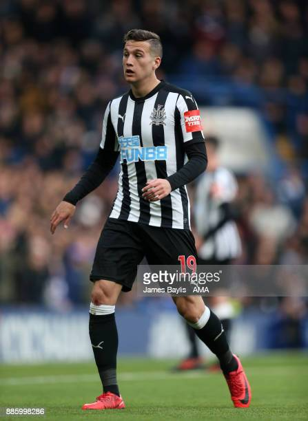 Javier Manquillo of Newcastle United during the Premier League match between Chelsea and Newcastle United at Stamford Bridge on December 2 2017 in...