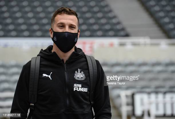 Javier Manquillo of Newcastle United FC arrives for the Premier League match between Newcastle United and Sheffield United at St. James Park on May...