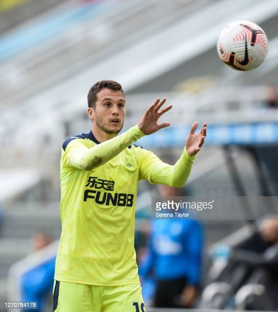 Javier Manquillo of Newcastle United FC catches the ball during the Pre Season Friendly between Newcastle United and Stoke City at St James' Park on...