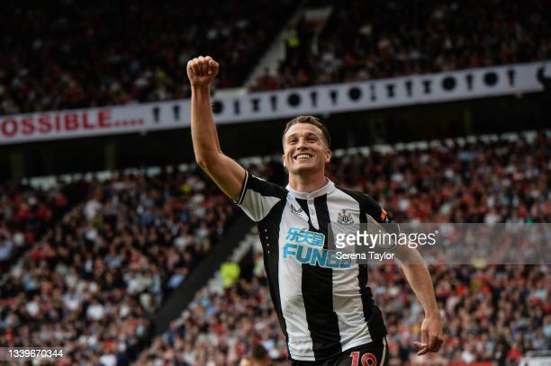 Javier Manquillo of Newcastle United FC celebrates after scoring the equalising goal during the Premier League match between Manchester United and...