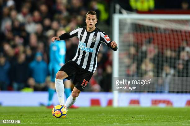 Javier Manquillo of Newcastle United runs with the ball during the Premier League match between Manchester United and Newcastle United at Old...