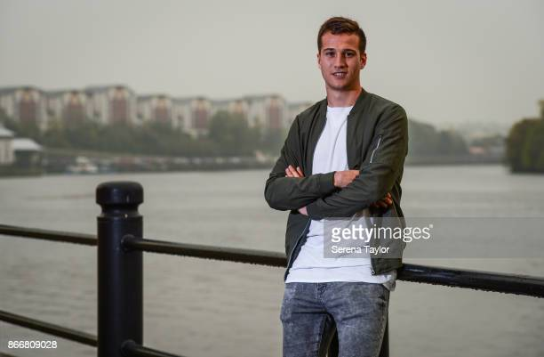 Javier Manquillo poses for photos during a photoshoot on the Newcastle Quayside on October 16 in Newcastle England