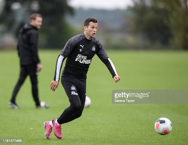 Javier Manquillo runs with the ball during the Newcastle United Training Session at the Newcastle United Training Centre on October 16 2019 in...