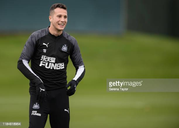 Javier Manquillo smiles during the Newcastle United Training Session at the Newcastle United Training Centre on October 31, 2019 in Newcastle upon...