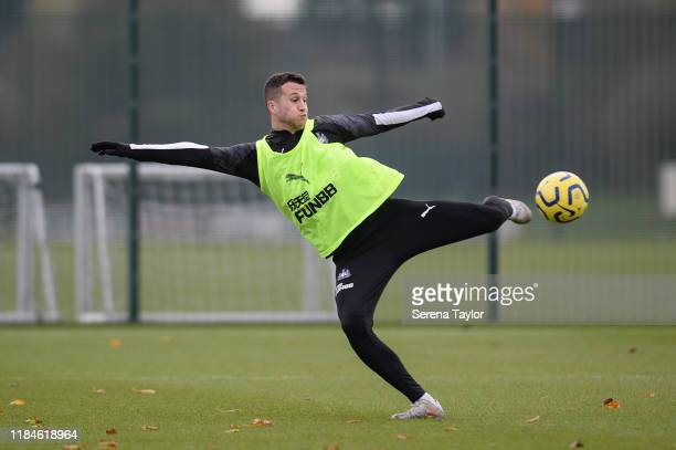 Javier Manquillo volley's the ball during the Newcastle United Training Session at the Newcastle United Training Centre on October 31, 2019 in...