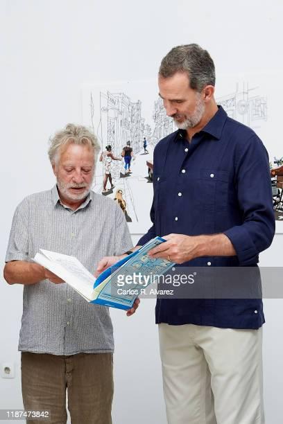 Javier Mariscal and King Felipe VI of Spain attend '500 Anos de la Ciudad de La Havana' new book presentation at the Spanish Embassy on November 13,...