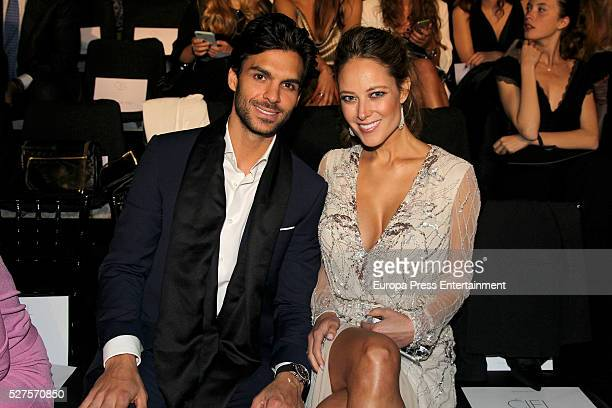 Javier Martinez and Vanessa Huppenkothen pose during Pronovias bridal collection during the 'Barcelona Bridal Fashion Week 2016' at Italian Pavilion...